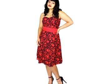 SALE!! Red and Black Strapless Psychobilly Blood Splatter Dress / Zombie Dress