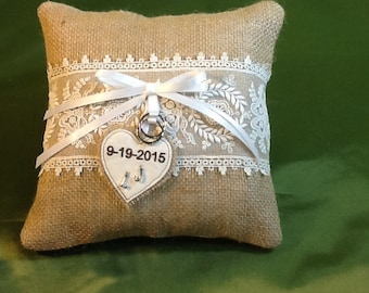 Burlap & Lace ring bearer pillow - wedding