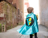 Superhero Cape Personalized Letter Lightening Bolt Turquoise and Black , 2T - 7T, super hero unique gift fast delivery Worldwide
