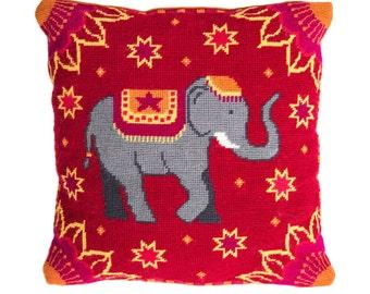 Modern needlepoint DIY cushion kit, cross stitch kit, tapestry kit, elephant tapestry, Indian tapestry, Indian Summer