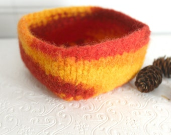 Mini Wool Basket Orange, Red, Yellow, Knit Felt Storage Basket, Boiled Wool Small Storage Basket, Orange Wool Storage Container, Square Bowl
