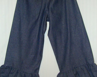 Girls denim ruffle pants, denim, pants, ruffle, ruffle pants