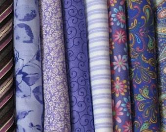 Eight Purple Fat Quarters, Fat Quarter Bundle, Cotton Quilt Fabric Bundle, FQBPurple2