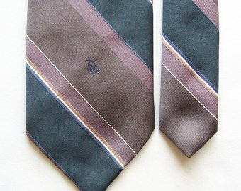 Vintage Christian Dior Necktie in Pastel Blue, Brown, White and Pink Diagonal Stripes - Monogram Tie