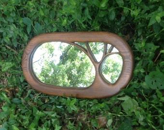 Wood tree mirror