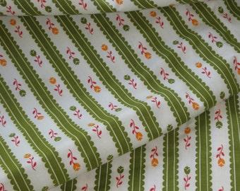 Vintage Tiny Print Floral Rose Wallpaper Stripe Fabric - 10 yards