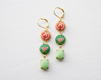 Coral pink ruffled roses with green cameos and mint grass earrings - Gloria by ArtsyLadyBoutique