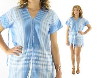 Vintage 70s Caftan Blouse Tunic Top Mexican Poncho Shirt Fringe Blue Ethnic Shirt 1970s Hippie Fashion Medium Large M L