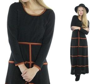 Vintage 70s Maxi Dress Long Sleeve Black Knit Dress Striped 1970s Hippie Boho Fashion Medium M