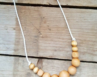 Nautical Nursing Necklace// Rope Necklace// Natural Wood Bead Necklace// Nursing Necklace// New Mom// Baby// Teething Baby