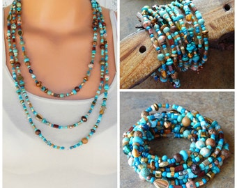 Multistrand necklace, beaded 10x wrap bracelet, turquoise, brown, beaded layering necklace, versatile, one of a kind, bohemian jewelry