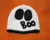 Halloween Ghost Baby Cap, White Beanie with Ghost Eyes and Boo, MADE TO ORDER, Halloween Costume for Babies, Photo Prop for Trick or Treat