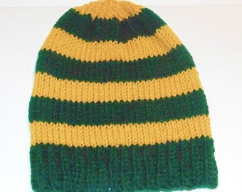 Slouchy Hat, Green and Golden Yellow Hat,  Striped Hat, Team Hat, Yellow and Green Hat