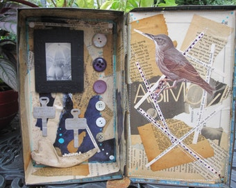 Mixed media assemblage, found object shadow box, pinup, art