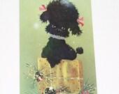 Vintage Norcross Black Poodle Christmas Card Unused