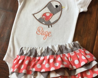 Personalized Bodysuit and Ruffled Diaper Cover Set- Personalized Embroidered Bird Set- Ruffled Diaper Cover Set- Chevron