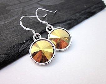 Silver & Yellow Earrings -- Round Yellow Earrings --Metallic Crystal Earrings -- Golden Yellow Drop Earrings -- Sunshine Yellow Earrings