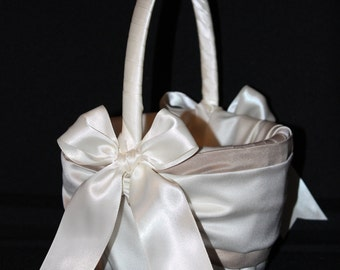 Taupe Accent Wedding Flower Girl Basket White or Ivory