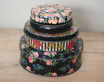 vintage rose tins set of three