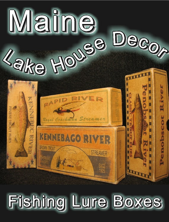 Maine Trout Rivers fishing  lake cabin decor lure boxes