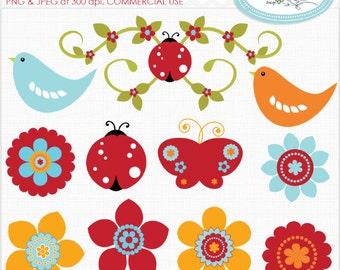 Flowers clip art, birds clip art, butterfly clip art, ladybug clip art, spring clip art, nature clip art, commercial use clipart