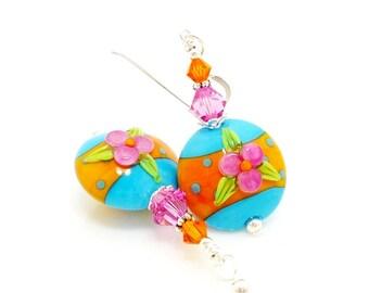 Southwestern Earrings, Colorful Earrings, Lampwork Earrings, Glass Earrings, Beadwork Earrings, Southwest Jewelry, Unique Earrings, Floral