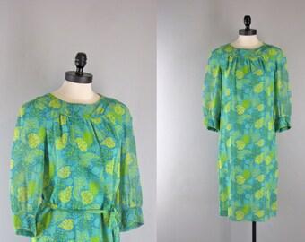 1960s Vintage Dress l 60s Floral Print Cotton Voile Dress