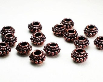 8mm Genuine Copper Beads Solid Copper Spacer Beads Large Hole Bead 15 pcs. GC-323