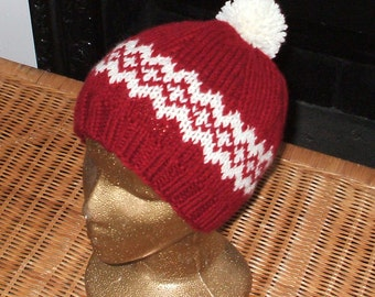 Hand knit red and white Scandinavian style hat in 100 %Acrylic