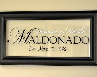 Personalized Picture Frame Family Name Sign Glass Sign 11x21 The Regal