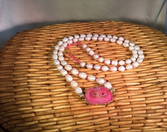 N127 Double Pink Druzy Necklace