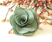 """Savannah Collection: 3 pcs SAGE GREEN - 2"""" Fabric Textured Rose Bud Burlap Linen Flowers. Hair Accessories, Fascinator or Hat  Appliques"""