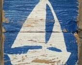 Beach Decor, Wood Art, Shabby Chic Sailboat on Reclaimed Fencing Wood