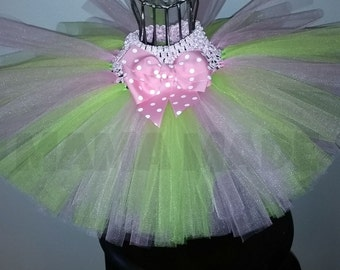Lime Green and Pink Tutu with bow on front Pink and Green tutu,girls tutu,flower girl tutu,birthday tutu,wedding tutu,photo prop tutu,full