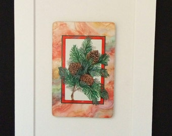Vintage Pinecone and Evergreen Branch 5 x 7 Matted Playing Card