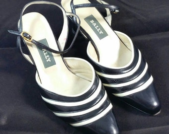 Bally Made in Italy Black Off White Sling Back Pump Size 6M
