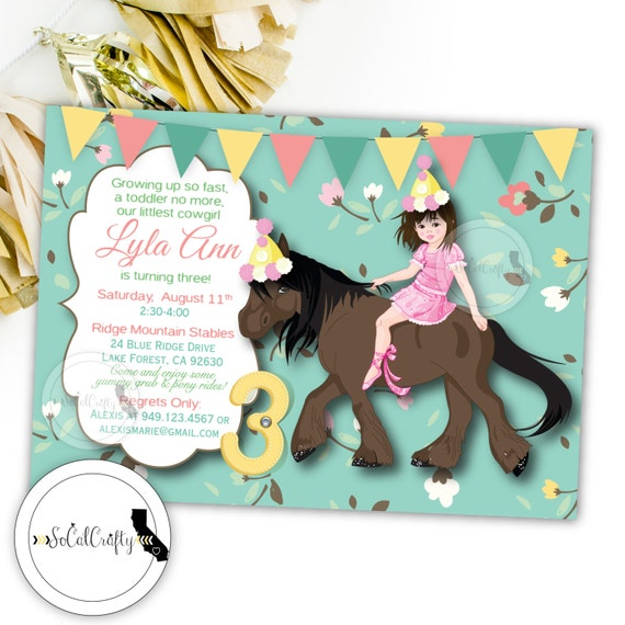 Cowgirl Birthday Party Invitation, Horse Invitation, Shabby Chic, Country, Teal Pink Yellow, DIY, Printable, Digital or Printed Invitation