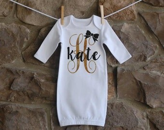 Initial Bow Name Baby Gown Sparkle Glitter Baby Girl Gown  Coming Home Outfit  Shower Gift