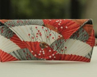 Glasses case/ Eyeglass case/ reading glasses case/ grey red white fans/ Japanese theme/ Hanami Falls/