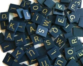 Scrabble Tiles Blue with Gold Letters  set of 25 random wood tiles