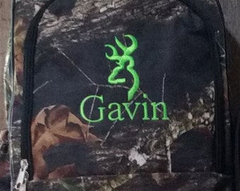 Boy's Camo Bacpack with deer hunting design FREE personalization back to school woods
