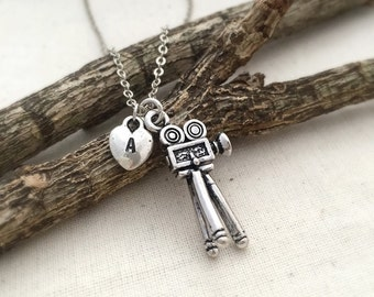 ON SALE - Camera Necklace, Initial Necklace, Handstamped Necklace, Best friend Gift, Handmade