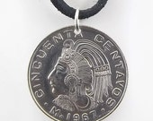 Mexican Coin Necklace, 50 Centavos, Cuauhtemoc, Coin Pendant, Leather Cord, Mens Necklace, Womens Necklace, Birth Year, 1967