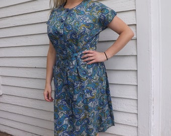 Cotton Print Dress White Blue Green Paisley 60s Plus XL XXL Vintage 46 Bust
