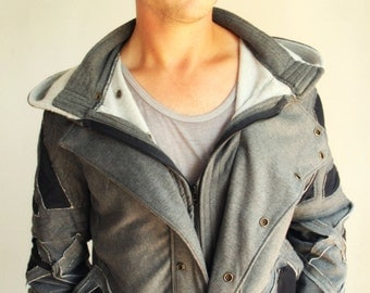 Steampunk style hoodie with black accents