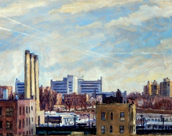 New York City Oil Painting, The Long View. NYC. 10x17 Oil on Canvas, Urban Impressionist Plein Air Fine Art, Signed Original
