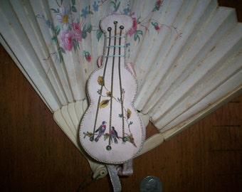 19th century silk pincushion/needle case violin