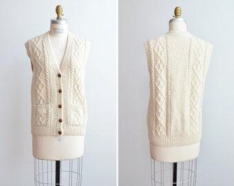 SALE / Vintage 1970s cream wool FISHERMANS sweater