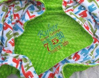 Baby Blanket - Personalized baby blanket - Lime giraffe blanket