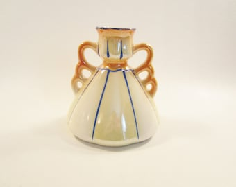 Vintage Orange Lustre Vase  Made in Czechoslovakia